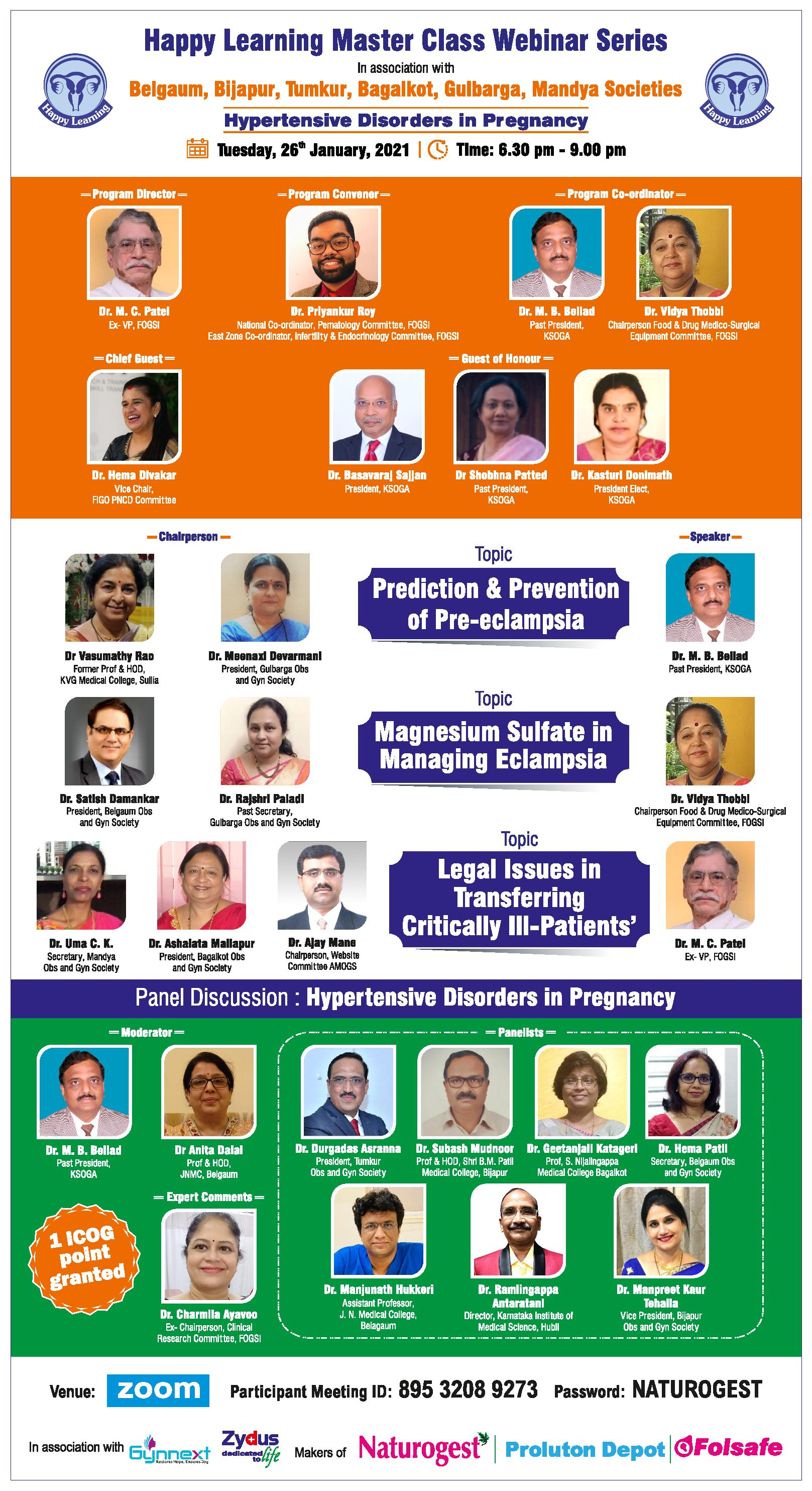 Dr Hema Divakar invited as the Guest of Honor for the 'Happy Learning Master Class Webinar Series'