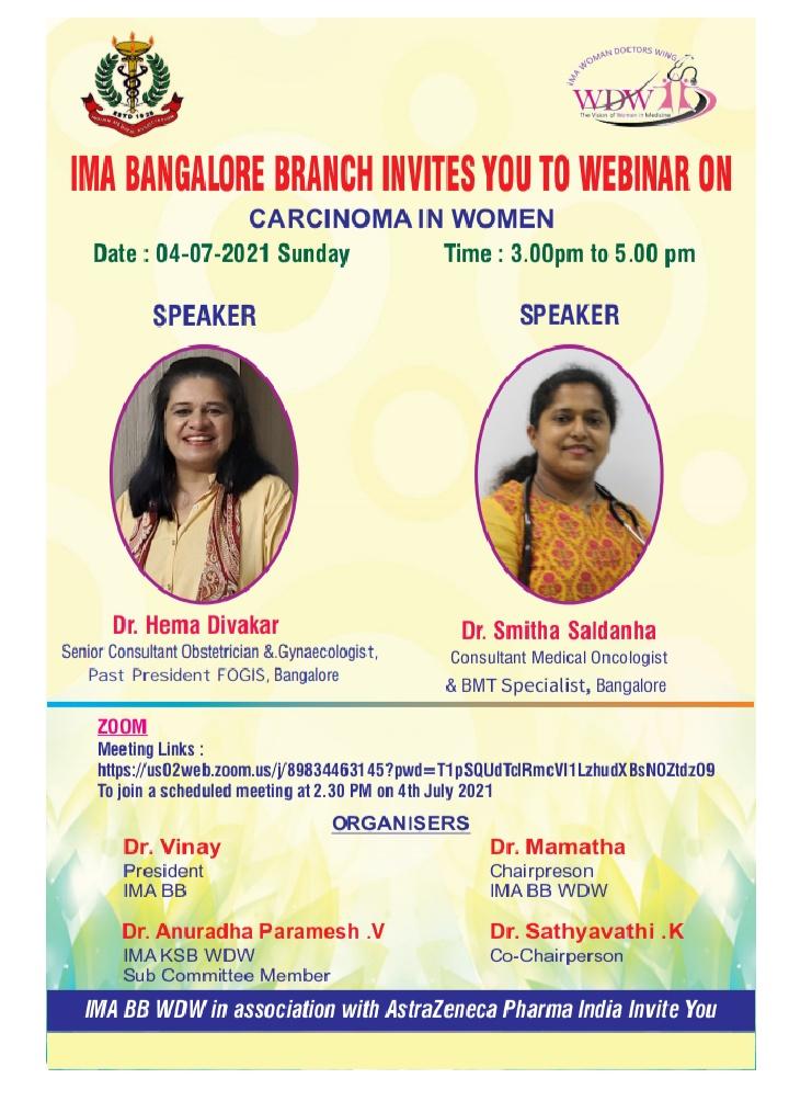 "Dr Hema Divakar speaks on ""Carcinoma in Women"" at the IMA Bangalore Webinar"