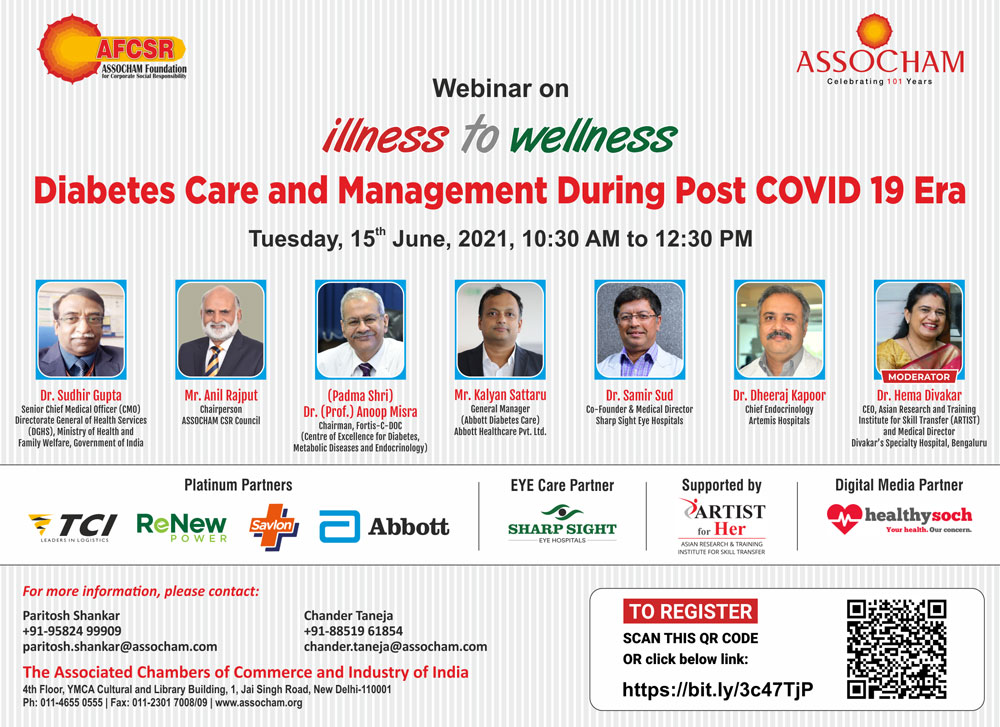Dr Hema Divakar among the panel discussing Diabetes care and management during Post COVID-19 Era - A webinar by ASSOCHAM